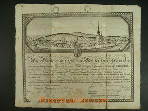 113242 - 1825 MISTROVSKÝ LIST / HUSTOPEČE  mistrovský list s vedutou