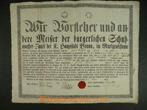 113243 - 1829 MISTROVSKÝ LIST / BRNO  zdobený mistrovský list, formát