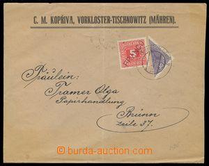 115696 - 1919 firemní dopis provizorně vyfr. souběžnou rakouskou půle