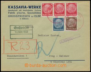 116323 - 1938 firemní R-dopis zaslaný do Prahy, vyfr. zn. Hindenburg,
