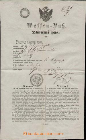 116518 - 1853 RAKOUSKO (ČECHY)  zbrojní pas, vydalo C.k. Okresní hejt