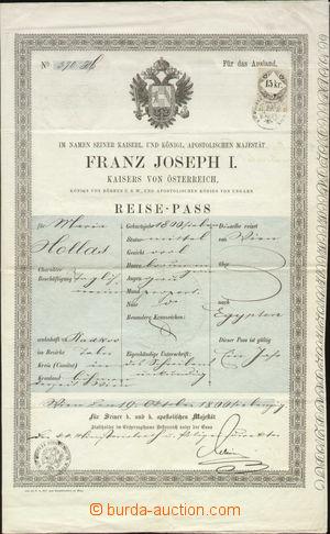 116519 - 1870 RAKOUSKO-UHERSKO  cestovní pas do Egypta, německý text,