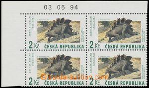 116534 - 1994 Pof.42, Pravěcí veleještěři, rohový 4-blok, VV na ZP 7