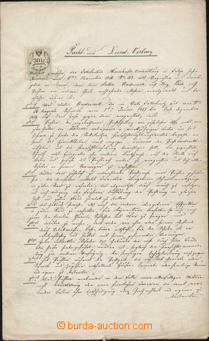 116540 - 1857-60 HABSBURSKÁ MONARCHIE  nájemní smlouva z roku 1857, p