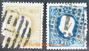 116693 - 1871 Mi.37B + Mi.42B, King Luis I., values 20R olive-brown a