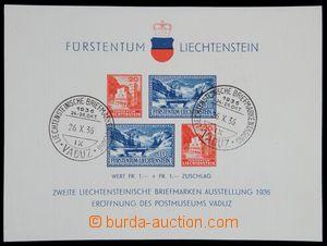 120970 - 1936 Mi.Bl.2, aršík Otevření poštovního muzea, PR VADUZ/ 26.