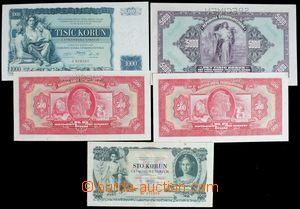 121174 - 1920-39 ČSR I. sestava 5ks bankovek hodnoty 100Kč a 200Kč vš