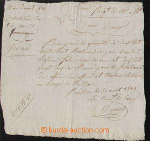 121518 - 1809 FRANCIE / NAPOLEONSKÉ VÁLKY  rekvírovací potvrzení