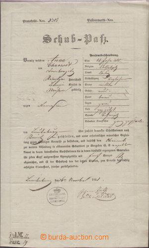 121526 - 1826 RAKOUSKO  tištěný postrkový pas vydaný v Břeclavi, zasl