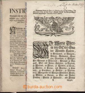121791 - 1764 RAKOUSKO  dva různé patenty Marie Terezie upravující vy