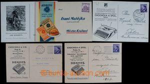 121980 - 1943-44 sestava 5ks firemních lístků s přítisky, psací stroj