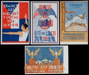 122045 - 1932-34 SOKOL  sestava 4ks sletových dopisnic Příbram 1932 a