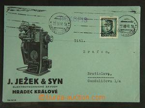 122896 - 1948 J. JEŽEK & SYN/ HRADEC KRÁLOVÉ, firemní tiskopis do Bra