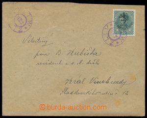 124275 - 1918 Hlubocké vydání,  dopis vyfr. zn. 20h Karel s černým př