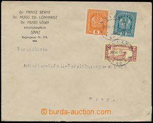 124595 - 1918 firemní dopis vyfr. souběžnými rakouskými výplatními zn