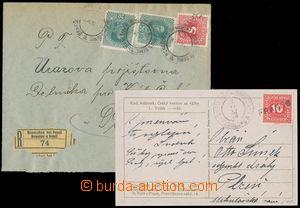 124611 - 1918 R-dopis a pohlednice vyfr. mj. rakouskou doplatní zn. 5