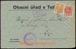 124613 - 1919 úřední dopis vyfr. rakouskými souběžnými zn. 6h již nep
