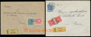 124615 - 1918 sestava 2ks R-dopisů s předběžnou a souběžnou frankatur