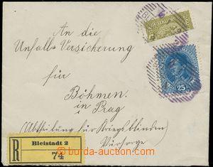 124618 - 1919 R-dopis vyfr. souběžnými rakouskými zn. jako půlená 40h