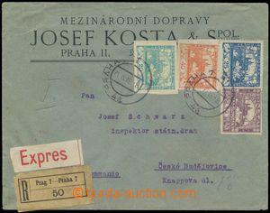 124730 - 1919 firemní R+Ex-dopis se 4-barevnou frankaturou Hradčanský