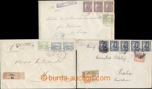 124734 - 1919-20 sestava 3ks hradčanských R-dopisů s razítky poštoven