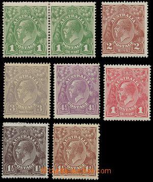 124944 - 1918-24 specializovaná sestava 8ks známek Jiří V., Mi.55Xb +