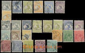 124959 - 1913-26 sestava 26ks ražených známek Mapa s klokanem a Jiří