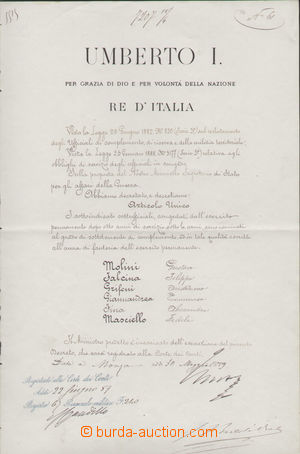 125226 - 1889 UMBERTO I. DOBRÝ (1844–1900), italský král; dokument fo
