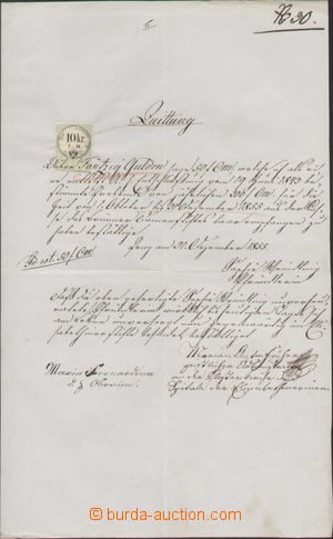 125354 - 1855 RAKOUSKO  listina s kolkem 10Kr C.M. s odstřiženou perf