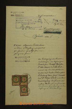 126678 - 1910 RAKOUSKO-UHERSKO  soudní přípis s vylepenými kolky 50h