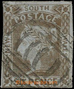 126853 - 1853 SG73, Královna Viktorie 6P hnědá, modrošedý papír; dole