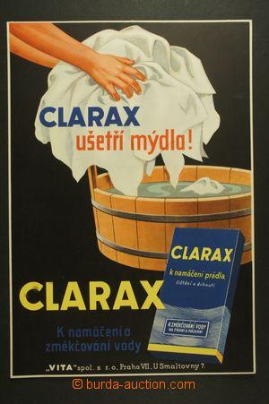 127672 - 1930 CLARAX, reklama na prací prostředek, kartón 22x32cm, be