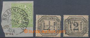 127813 - 1868 Mi.2, Číslice 1/3Gr žlutozelená, na malém výstřižku s D