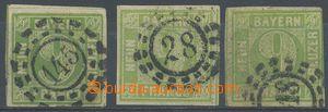 128087 - 1850 Mi.5III, Číslice 9Kr žlutozelená, 3ks známek, vše III.