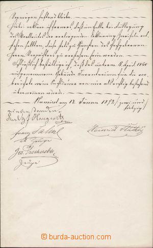 128943 - 1872 HAUGWITZ Karl (1797–1874), listina s frankaturou kolků