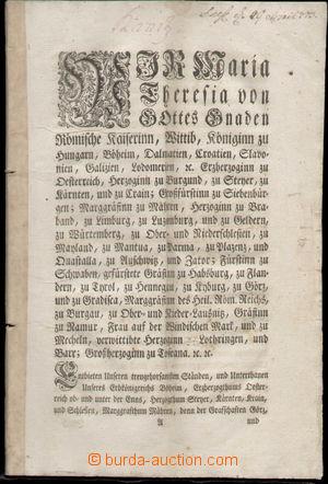 129315 - 1773 RAKOUSKO / MILITARIA  vojenský dekret Marie Terezie pro