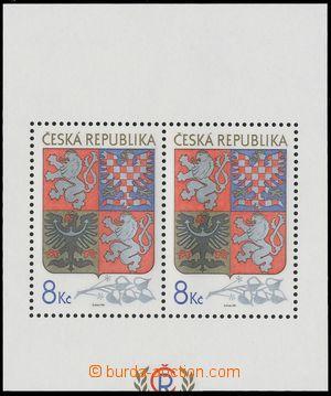 129697 - 1993 Pof.A10VV, aršík Velký státní znak, odlišný ořez, svěží