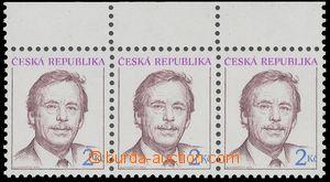 129747 - 1993 Pof.3, Havel 2Kč, 3-páska s horním okrajem, posun modré