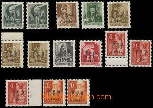 129799 - 1944 CHUST  sestava 14 kusů známek s chustským přetiskem, 2x