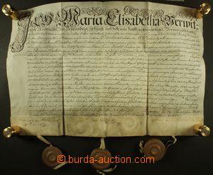 129930 - 1738 RAKOUSKO (MORAVA)  pergamenová listina, psáno německy,