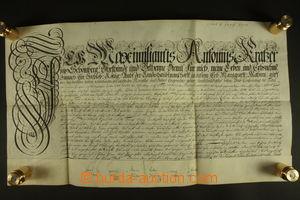 129932 - 1708 RAKOUSKO (MORAVA)  pergamenová listina, psáno německy,