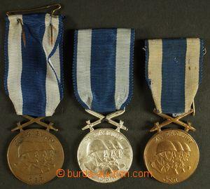 130260 - 1945 ČSR II.  sestava 3ks medailí Za zásluhy, 2x bronzová (p