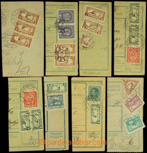 130688 - 1918-19 sestava 8ks ústřižků vyfr. smíšenými frankaturamí vý