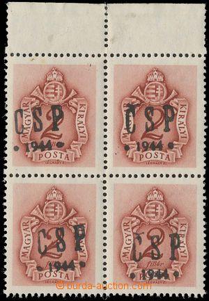 131115 - 1944 CHUST  Pof.RV202, Majer C29, doplatní 2f, 4-blok s horn