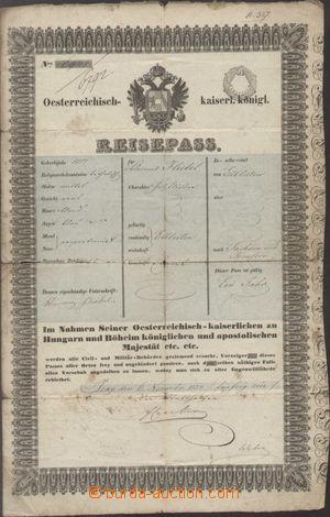 131228 - 1855 RAKOUSKO  cestovní pas s vtištěným kolkem 6Kr; natrženo