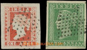 132349 - 1854 Mi.5-6a, Královna Viktorie 1A červená a 2A matně zelená