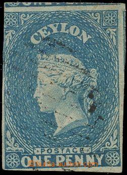 132590 - 1857 Mi.2x; SG.2b, Královna Viktorie 1P modrá, namodralý pap