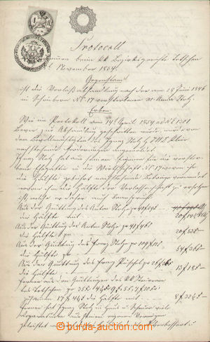 132772 - 1854 AUSTRIA  document with mixed franking imprinted and doc
