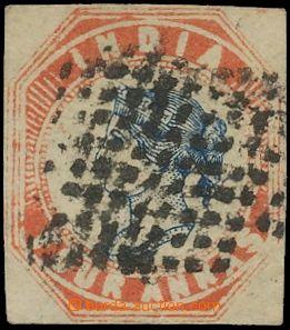 132809 - 1854 Mi.7; SG.17, Královna Viktorie 4A červená / modrá, kat.