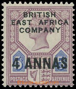 132824 - 1890 Mi.3; SG.3, Královna Viktorie s přetiskem 4ANNAS, průsv
